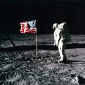 Buzz Aldrin Salutes the Flag